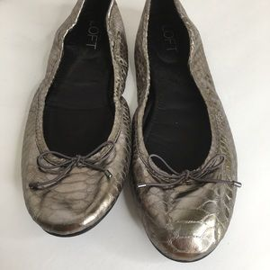 Loft Metallic Bronze Gold Snakeskin Ballet Flats